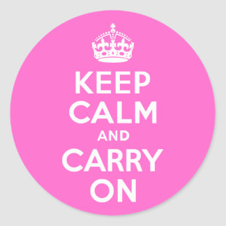 Rose Pink Keep Calm and Carry On Classic Round Sticker