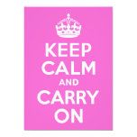 Rose Pink Keep Calm and Carry On 5x7 Paper Invitation Card