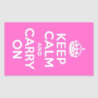 Rose Pink Keep Calm and Carry On Rectangular Sticker