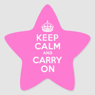 Rose Pink Keep Calm and Carry On Star Sticker