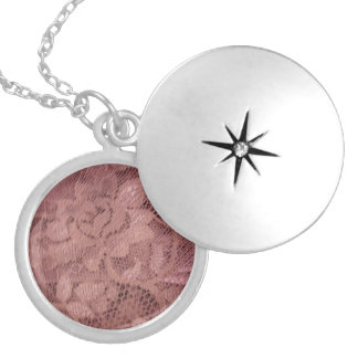 Rose Pink Lace Round Locket Necklace