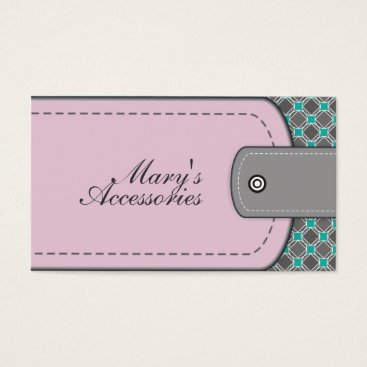 Professional Business Rose pink leather look and pattern grey, teal business card