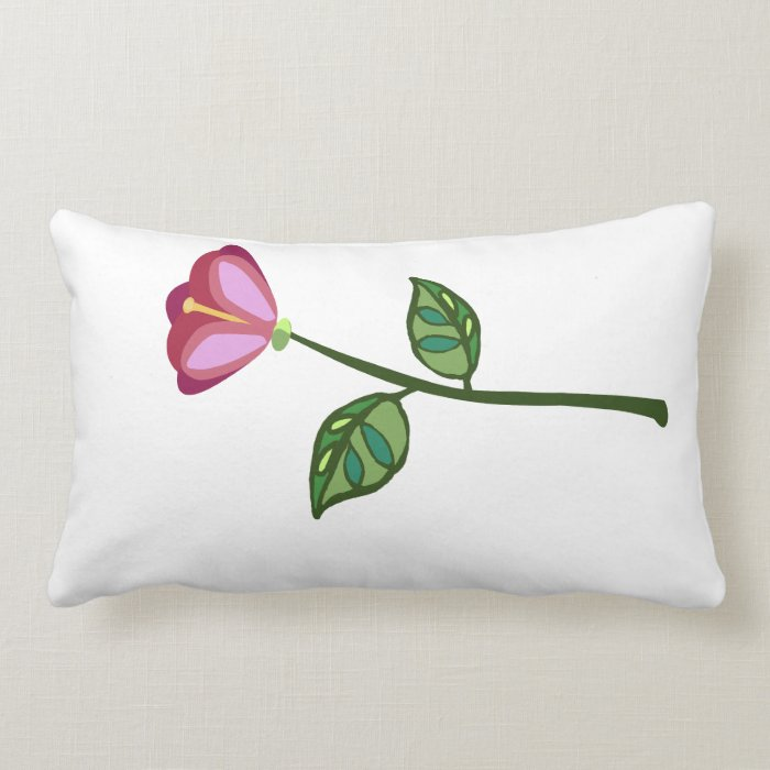 Rose pink long stem flower lumbar pillow