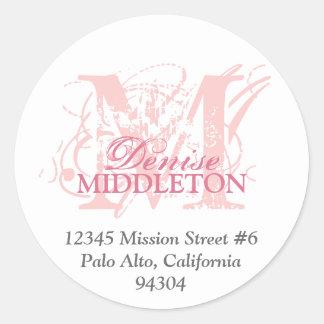 Rose pink monogram antique grunge address label