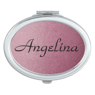 Rose Pink Ombre Personalized Name on Glitter Sand Vanity Mirror