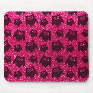 Rose pink owl glitter pattern mousepads