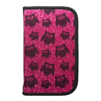 Rose pink owl glitter pattern folio planners