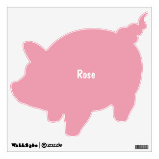 Rose Pink Personalized Piggy Bank Wall Decal