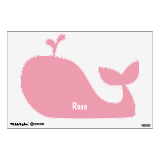 Rose Pink Personalized Whale Wall Decal