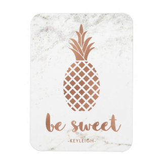 Rose Pink Pineapple on White Marble | Be Sweet Magnet