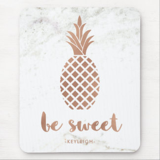 Rose Pink Pineapple on White Marble | Be Sweet Mouse Pad