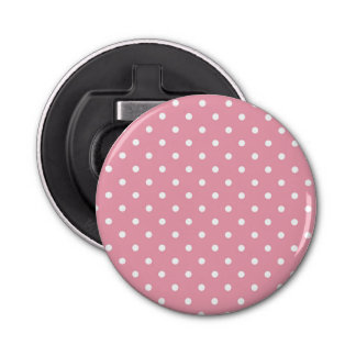 Rose Pink Polka Dot Bottle Opener