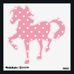 """Rose Pink Polka Dot Horse Wall Decal<br><div class=""""desc"""">A beautiful shade of pink that has just a hint of rosy color to it making it to dark for brighter,  lighter names.    Some of the products also incorporate matching rose and white polka dots.   They are a blank canvas ready for your text or image.</div>"""