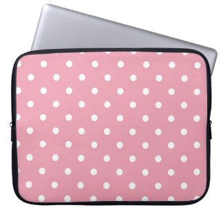 Rose Pink Polka Dot Laptop Sleeve