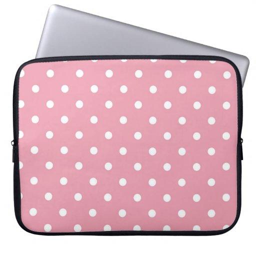 Rose Pink Polka Dot Laptop Sleeve