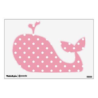 Rose Pink Polka Dot Whale Wall Decal