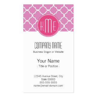 Rose Pink Quatrefoil with Custom Monogram Double-Sided Standard Business Cards (Pack Of 100)