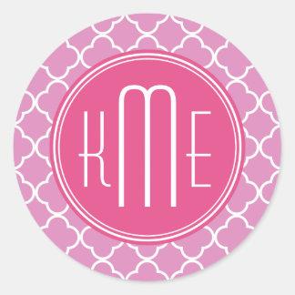 Rose Pink Quatrefoil with Custom Monogram Classic Round Sticker