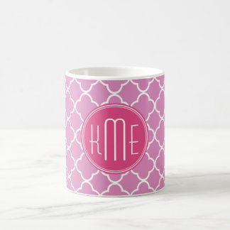Rose Pink Quatrefoil with Custom Monogram Coffee Mug