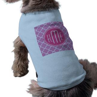 Rose Pink Quatrefoil with Custom Monogram Pet T Shirt