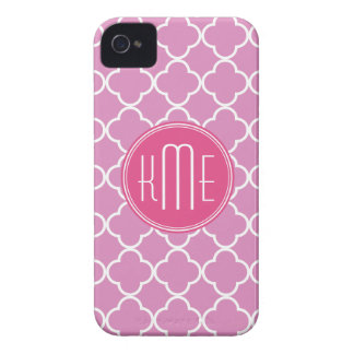 Rose Pink Quatrefoil with Custom Monogram iPhone 4 Case