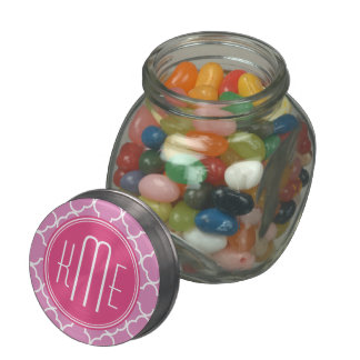 Rose Pink Quatrefoil with Custom Monogram Jelly Belly Candy Jar