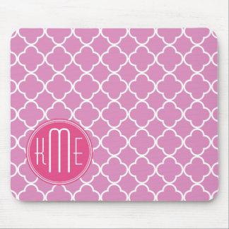 Rose Pink Quatrefoil with Custom Monogram Mouse Pad