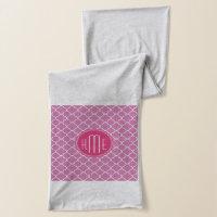 Rose Pink Quatrefoil with Custom Monogram Scarf
