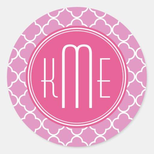 Rose Pink Quatrefoil with Custom Monogram Round Sticker