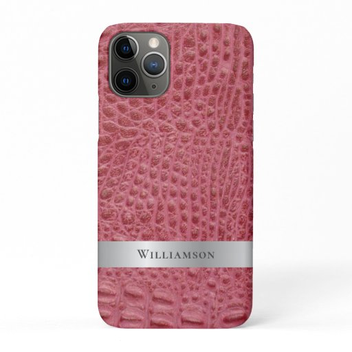 Rose Pink Reptile Digital Leather Silver Metal iPhone 11 Pro Case