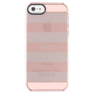 Rose Pink Stripe iPhone 5SE Custom Initials Clear iPhone SE/5/5s Case
