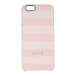 Rose Pink Stripe iPhone 6/6s Case, Custom Initials Clear iPhone 6/6S Case