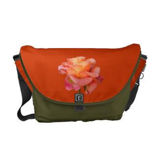 rose pink, tangerine, moss flower Messenger Bag
