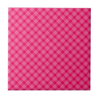 ROSE PINK TARTAN (a pale red design) ~ Ceramic Tile