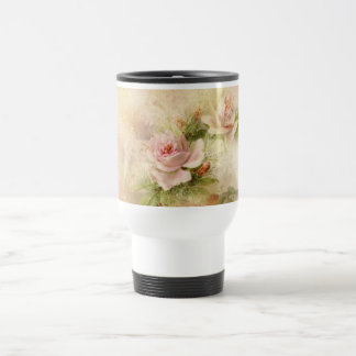 Rose pink vintage flower travel mug