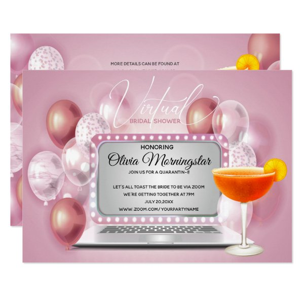 Rose Pink Virtual Bridal Shower Quarantini Invitation