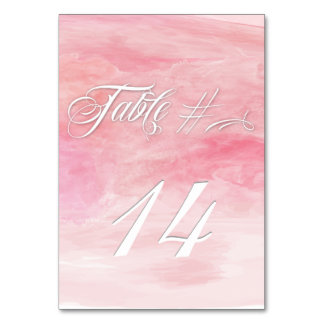ROSE PINK WATERCOLOR MODERN TABLE CARD