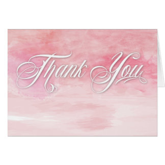 ROSE PINK WATERCOLOR POPPIES THANK YOU WEDDING CARD