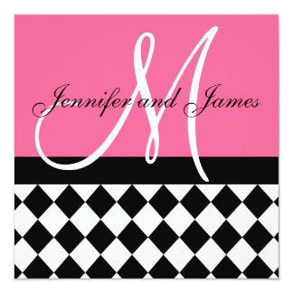 Rose Pink Wedding Invitation Monogram Harlequin