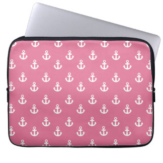 Rose Pink White Ships Anchors Pattern Laptop Computer Sleeves