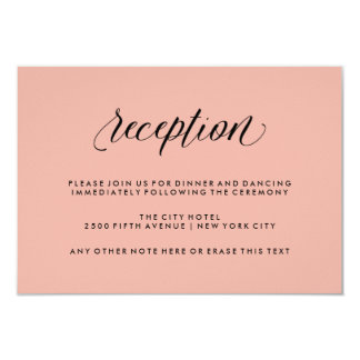 Rose Pink with Black Calligraphy Wedding Reception Card