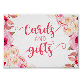 Rose Pink & Yellow Floral Wedding Cards & Gifts Poster