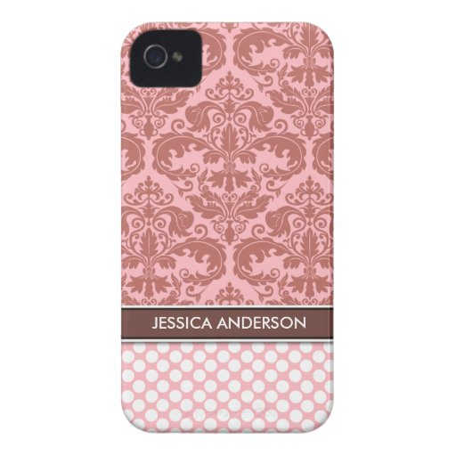 Rose Polka Dot Damask Pattern iPhone 4 Case-Mate