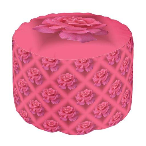 rose pouf ottoman pink rose pillow footstool zazzle. Black Bedroom Furniture Sets. Home Design Ideas