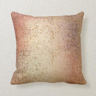 Rose Powder Gold Glam Brush Metallic Sequin Throw Pillow