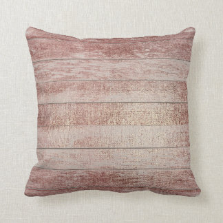 Rose Powder Gold Glam Metallic Wood Gray Throw Pillow