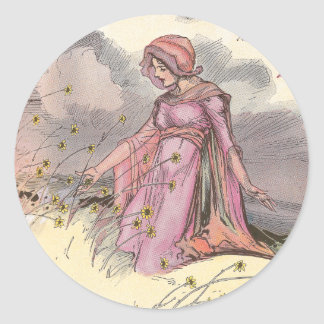 Rose Princess in Field of Flowers Round Stickers