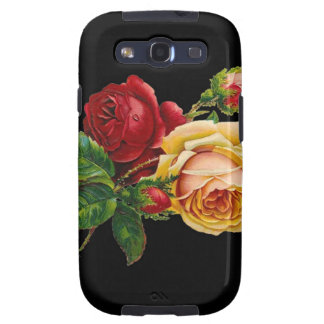 Rose Print Accessories - black, red, vintage art Samsung Galaxy S3 Covers