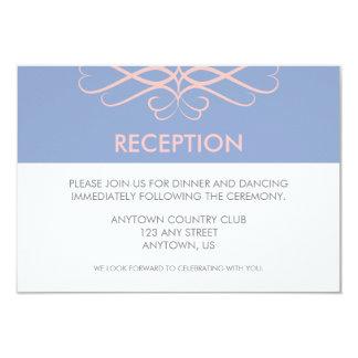 Rose Quartz and Blue, Elegant Flourishes Wedding Card