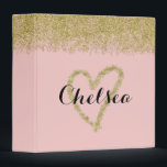 """Rose Quartz And Gold Glitter Cascade Binder<br><div class=""""desc"""">Drawn with a glitter heart on the front,  gold sequins also cascade down from the top for a trendy rose quartz notebook binder. Girly pink with customizable name.</div>"""